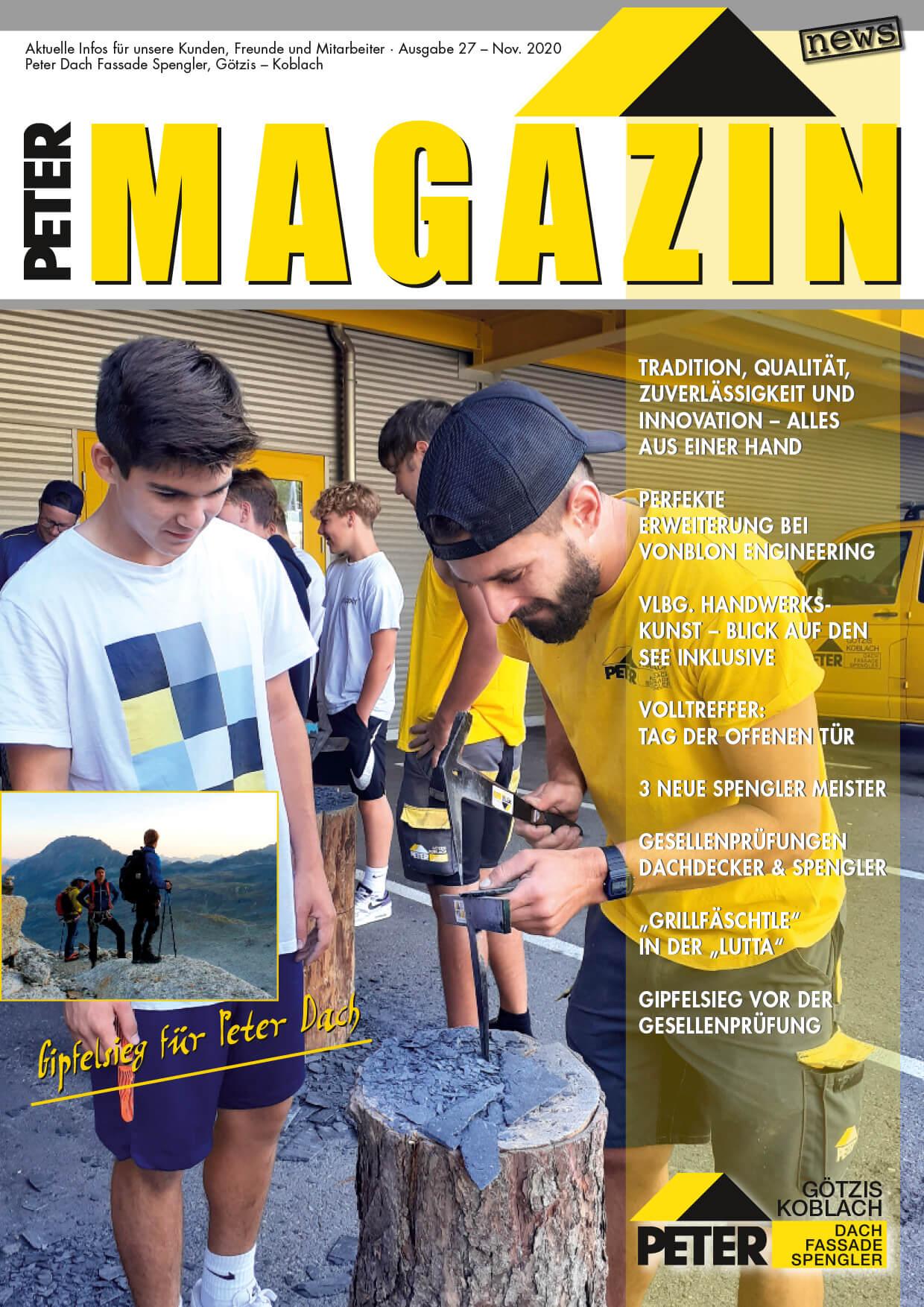 Magazin Nov 2020, Peter Dach Vorarlberg Götzis, Fassade, Spenglerei, Dachdecker, Dachfenster, Rheintal