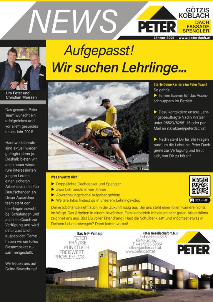 News Jänner 2021, Peter Dach Vorarlberg Götzis, Fassade, Spenglerei, Dachdecker, Dachfenster, Rheintal