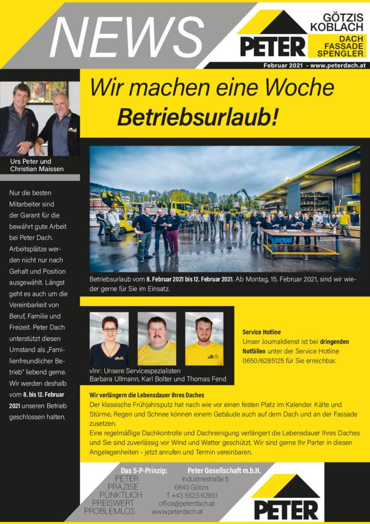 News Februar 2021, Peter Dach Vorarlberg Götzis, Fassade, Spenglerei, Dachdecker, Dachfenster, Rheintal